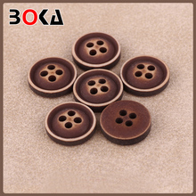 // whosale round high end real // wooden button 4 holes for cardigans // BK-BUT654
