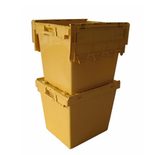 Stacking loading 225kg hinged attached lids storage plastic container