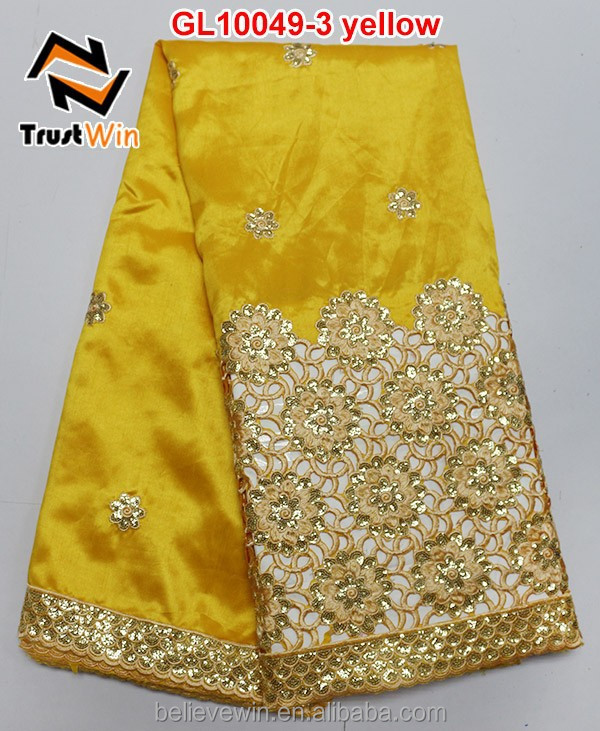 high quality yellow indian george lace fabric for sale