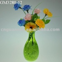 2015 beautiful amber round clear glass vase for flower