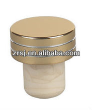 2013 Latest design gold Aluminium top Synthetic cork stopper for wine bottles decoration