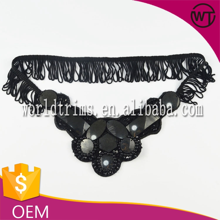 Black fringe beaded collar for garment WTA70