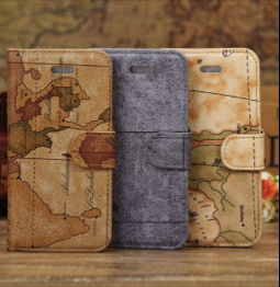 Fashion World Map Pattern Wallet Leather Case Cover