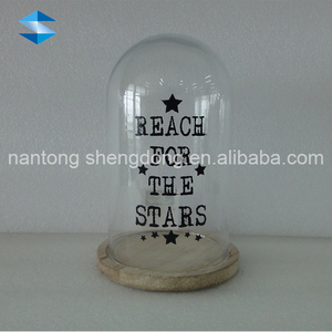 clear microwave glass dome cover with wooden pedestal
