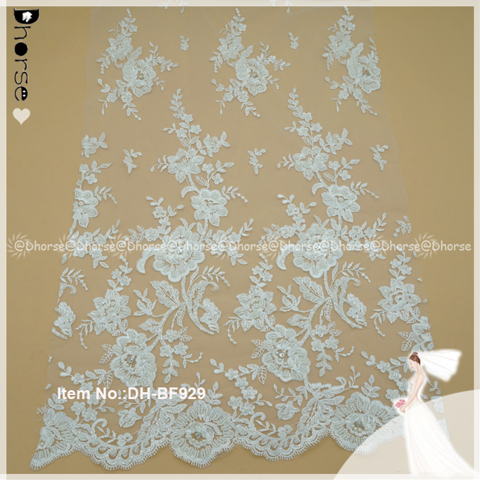 Guangzhou 51inches white beaded lace fabric net embroidered lace DH-BF929