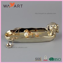 Funny Gold Plating Pretty Dog Shaped Ceramic Rattan Charger Plates