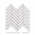 "New Arrival 1""x4"" White Polished Herringbone Marble Mosaic Tile"