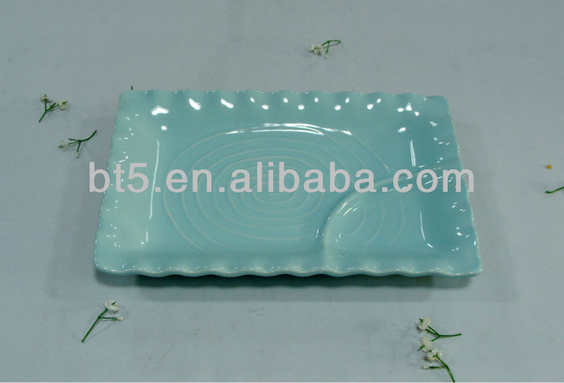 popular rectangle ceramic two divided plate