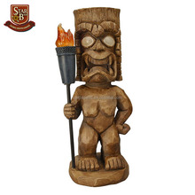Tiki themed outdoor solar light garden gnome resin tiki figurine