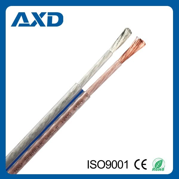 Wholesale high grade audio cable transparent speaker cable
