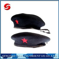 2016 High quality new embroidery wool betets/beret with five-pointed star embroidery