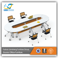 Office furniture table designs folding oval-shape conference table LS-J306