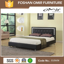 Bed Room Furniture White Leather Diamond Bed