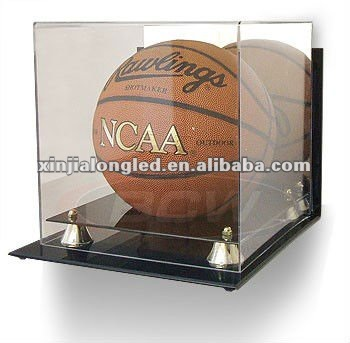 Clear Acrylic Basketball Acrylic Plastic Dispaly Holder Wall Mount Basketball Display Case With Mirrored Back and Gold Risers
