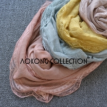 Solid plain four sides with lace cotton oversize scarf shawl lace muslim hijab