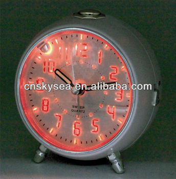 Plastic round luminous table alarm clock