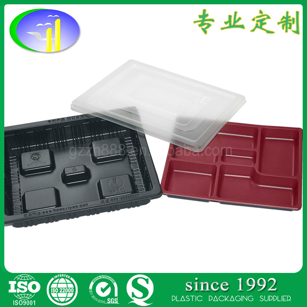 2017 Disposable fast food containers with lid plastic food tray for Microwave