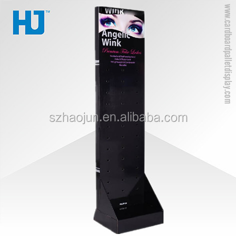 Retail store cardboard floor display with plastic hooks for promotion, cosmetics paper floor display shelves