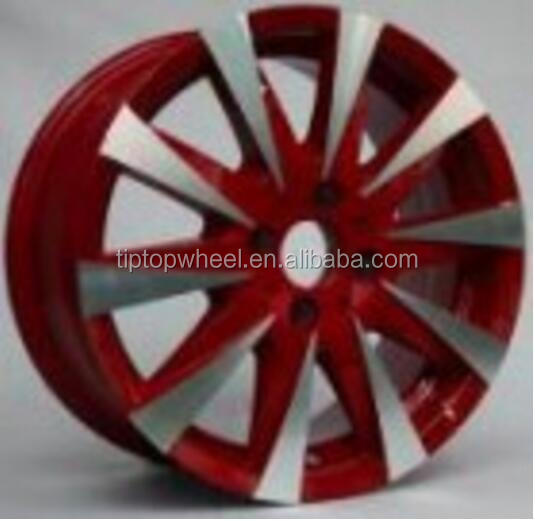 Red colour after market wheel 13 14 15 inch alloy rims for car llanats rines China alloy rims manufacturer
