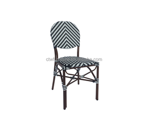Aluminum bamboo look patio wicker chairs with round back