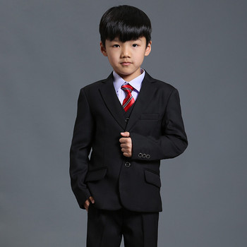 Fashion Best-Selling Pure Plain Black Three Pcs Boys Wedding Suit