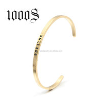 316 Stainless Steel Custom Engraved Cuff Bangle Bracelet Wholesale Jewelry Direct Factory BREATHE