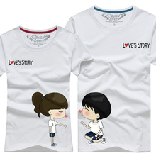Custom 95% cotton 5% elastane printing softextile slim fit couple t shirt