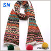 Winter fashion fleece scarf with pom pom