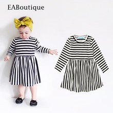 winter classic striped pattern long sleeve cotton gown for 2-6 years old girls party dresses
