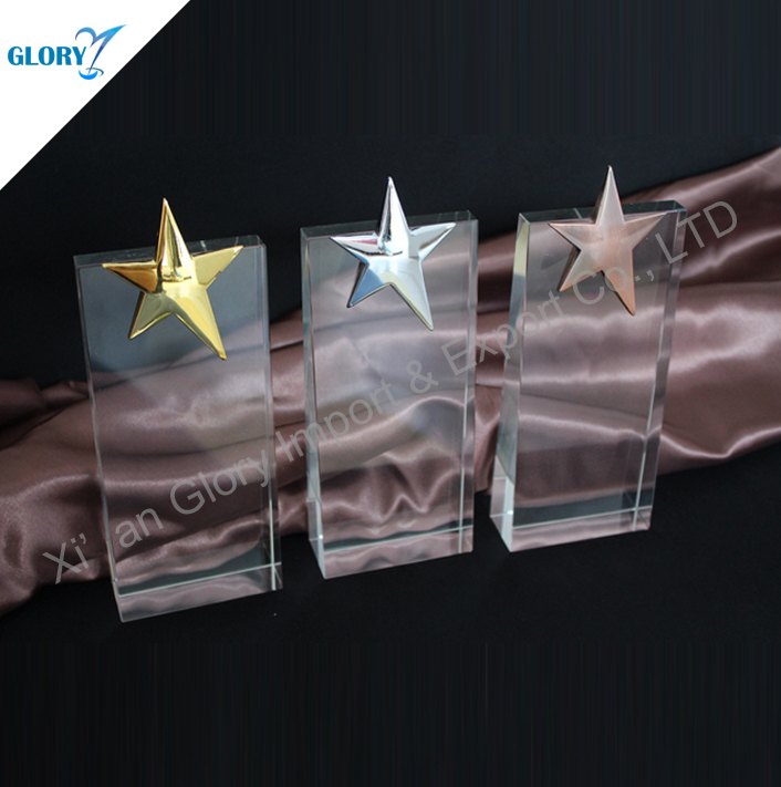 Wholesale Golden silver bronze star trophy Award