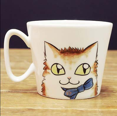 Lovely cat logo printed in the coated unique shape ceramic sublimation mug for free gift for Mother's day