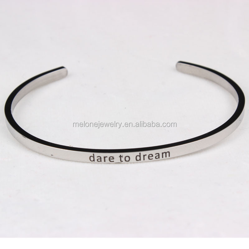 Silver Plated OEM Design 3.5mm Width Engraved Bracelets Wholesale Steel Custom Engraving Message Cuff