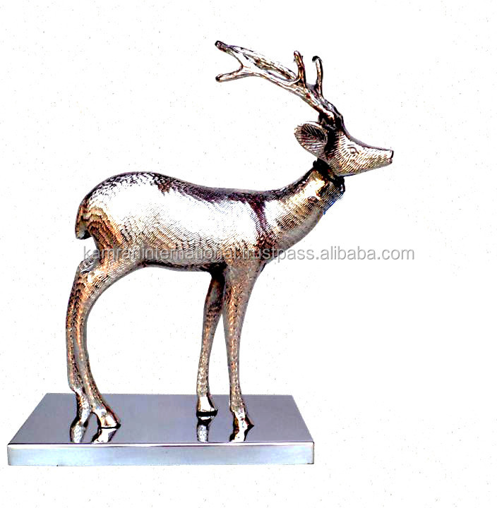 NICKLE PLATED STANDING REINDEER STATUE ON METAL BASE FOR INTERIOR HOME DECORATION