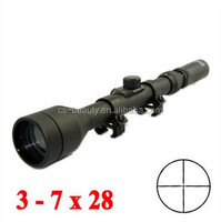 Drop Shipping Cheap Riflescope 3-7X28 Air Soft Scope Hunting Rifle scope With Free Mounts & Lens Caps Crosshair Outdoor Airsoft