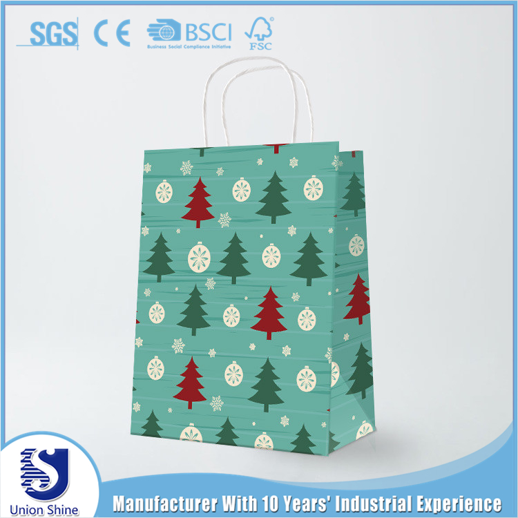 China Shopping gift paper bag manufacturs christmas decoration