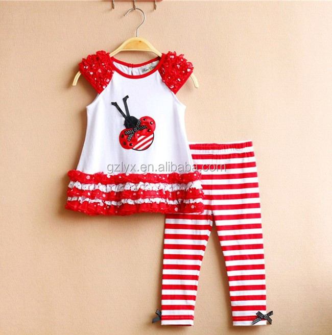 baby clothes cap sleeves new model girls wholesale ruffel colorful suit stylish little girls clothing sets
