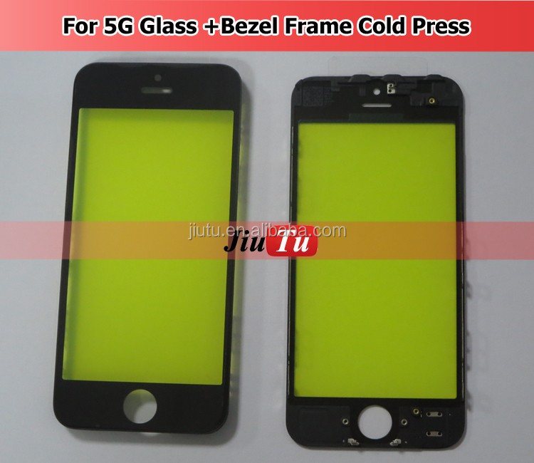 Original Outer New Replacement LCD Front Screen Glass Lens with Bezel Frame for iPhone 5 5G