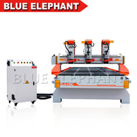 Multi head 3d cnc woodworking router machine with large size working table