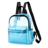 Clear Mini Backpack PVC Bookbag See Through School Bags for Women and Men Stadium Approved Transparent Bag for Travel