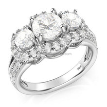 best selling ladies charm design silver color lucky stone finger ring OSSR0790