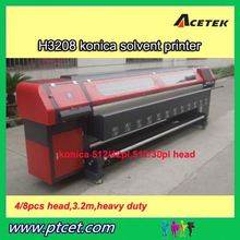 Equipped 8 pieces 510 35pl heads 3.2m large format solvent printer