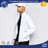 Factory Collar Zipper 100% Polyester White Men Wholesale Blank Varsity Jackets