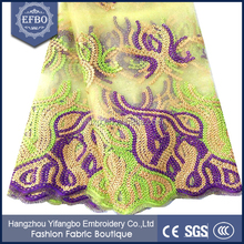 Net materials sequence decoration 2016 guipure lace fabric african cord lace yellow / African cupion lace fabric for wedding
