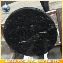 Black Marquina Marble Table Top Polished Round Shaped Nero Margiua
