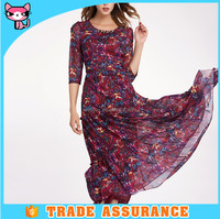 2016 New arrival western designs printed long chiffon dress for ladies