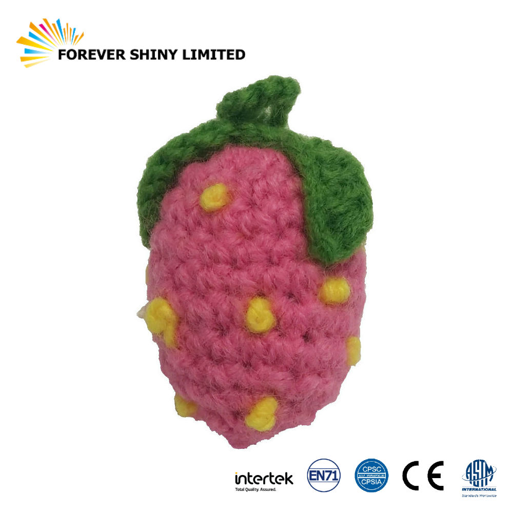 Novelty Gift Key Chain Small Capsules Toys Cute String Fruit Woven Plush Strawberry for Vending Machines
