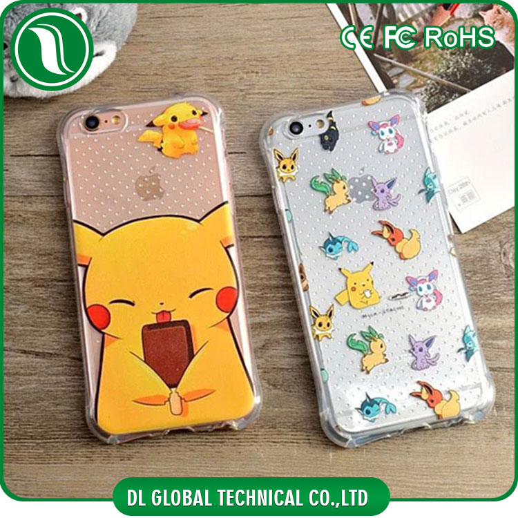 2D transparent mobile cover drop resistance pikachu go soft tpu printing case phone for iphone 6