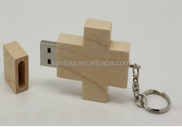 Custom usb flash drive wooden mini cross usb stick