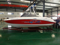 SANJ high speed motor boat with Centre Console Inboard fiberglass Fishing Boat