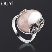 OUXI New arrival hot sale big stone gemstone finger ring made with ancient silver G70022-1